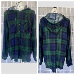 Polly&Esther Hoodie Flannel Button Down Size Xl